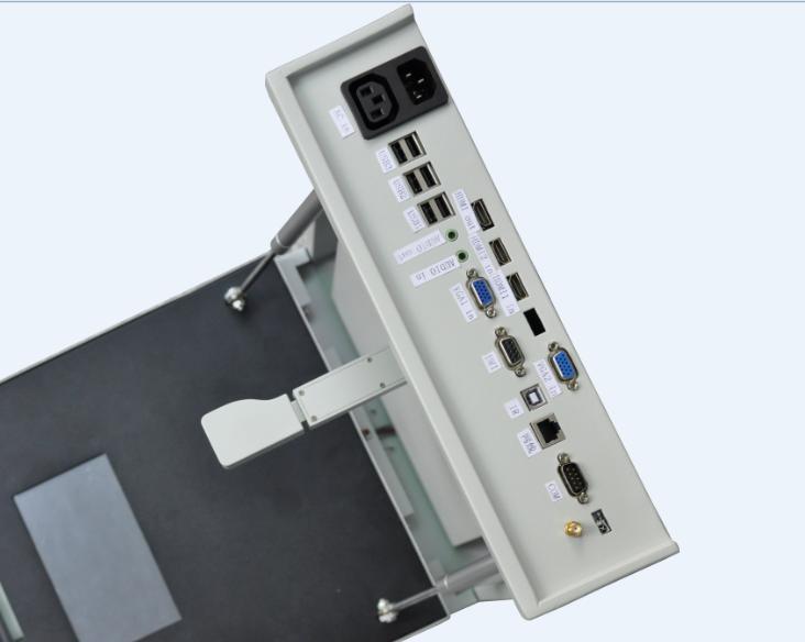 深圳市兴鼎业科技有限公司,现已推出新一代超薄式mini一体机,将集电脑、视频展台、中控为一体机的设计融入到箱体式中,它便于移动安装,方便在教室任何一个位置安装,大小尺寸:340x90x410mm超薄设计理念,应用在中小学校、培训机关、各种教育部门。       它在外观是用与箱体式设计,比一般的壁挂式展台要薄,要小,拍摄杆采用隐藏式,而拍摄镜头部分可伸缩,展台中含入了5.